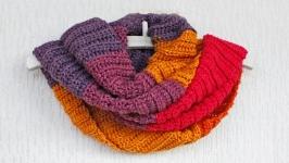 Разноцветный снуд вязаный женский Фиолетовый шарф снуд в два оборота шерсть