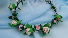 Цветочный венок на голову с розами айвори