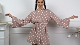 LINEN ROBE, KIMONO bathrobe, Bridesmaids Robe, Linen lounge wear, Sexy Robe
