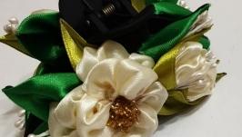 Заколка  для волос ручной работы ′Цветок Жасмина′