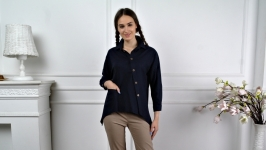 Asymmetric Linen Shirt Deep dark blue colour