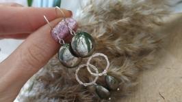 Серебряные серьги с пиритом ′Лунное затмение′