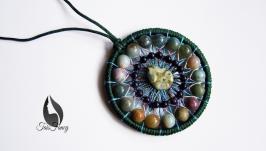 Кулон-мандала с камнями