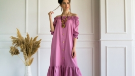Linen maxi off shoulder dress, long dress with peasant puffed sleeves