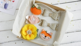 Осенние заколки для девочки  Желтые и оранжевые заколки девочке в подарок
