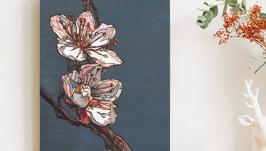 Картина на дереве 40х30см ′Сакура′