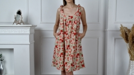 Poppy flower linen sundress