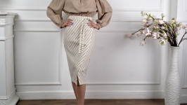 LINEN WRAP SKIRT, Natural linen skirt, striped flax skirt
