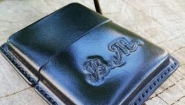 Кожаный портсигар с тиснением имени или рисунка. Ручная работа 100%