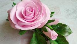 Заколка с розой из фоамирана