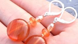 Сережки ′Осінь золота′ з натурального сердоліку зі срібними застібками