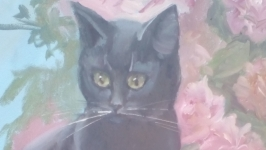 Кошка сыроежка.Картина маслом.