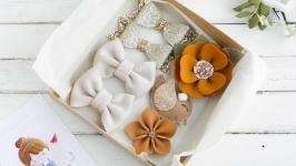 Подарочный набор заколок резинок для девочки  Осенние заколки девочке