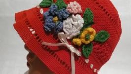 Шляпа для девочки с цветами