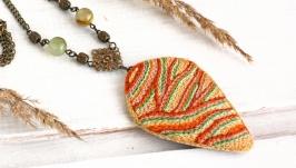 Большой кулон бохо с ониксом Осеннее украшение Оранжевый кулон