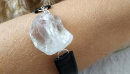 Кожаный черный браслет с горным хрусталем ′Фрея′