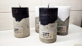 Candle in concrete 140 x 75 мм in the style of Loft