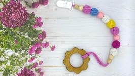 Вязаный держатель для пустышки с грызунком Цветок