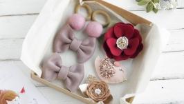 Подарочный набор заколок и резинок для девочки  Красивые заколки девочке