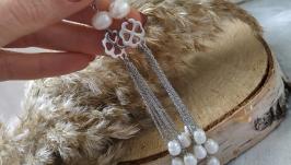 Серьги-цепочки с белым жемчугом ′Жемчужный дождь′