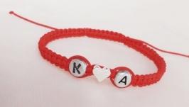 Плетеный браслет для влюблённых (красная нитка) ′LoveIs′