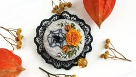 Осенняя брошь бохо с кружевом Брошь на хеллоуин