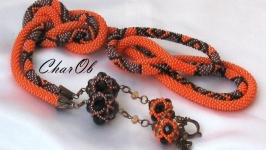 ′Dina-2′ lariat necklace long jewelry orange