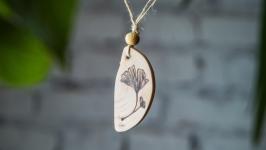 Natural Wood Pendant Ginkgo Biloba. Pyrography Pendant.