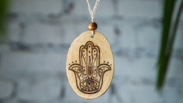 Wooden pendant amulet Khamsa. Wooden necklace Hand of Fatima pyrography.
