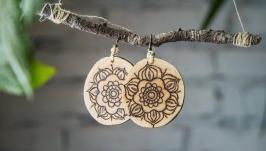 Natural Wooden Dangle Earrings. Pyrography Earrings for Women.