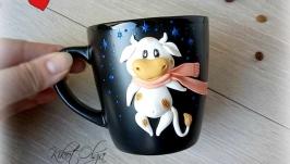 Чашка с бычком декор полимерная глина Символ 2021 года