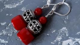 Сережки з натуральними коралами та срібними застібками ′Уквітчана′