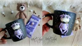 Набор Новогодний.  Чашка с коровой Милкой Игрушка и шоколад )))))