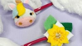 Заколки для волос для девочки ′Единорожки и Цветы′ желтые Детские заколки
