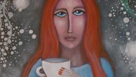 Картина′ Утренний  кофе′ .  акрил  35х40 грунтованный  картон
