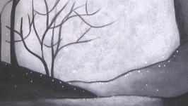 Тихий  лес - картина  акрил  35х40  грунтованный  картон