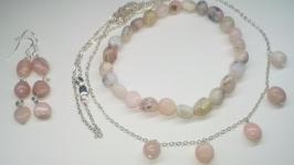 Комплект розовый Опал, комплект из 3х: колье, серьги, браслет