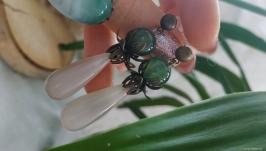 Серьги с агатом ′Агатовый цветок′