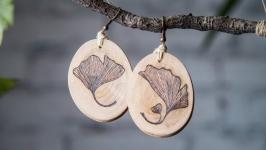 Natural Wooden Earrings Ginkgo Biloba. Pyrography Earrings for Women