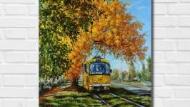 Картина маслом ′Осень в городе′ 45х40 см, холст на подрамнике, масло