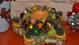 Рождественская звезда - аромосвеча (оранжевая)