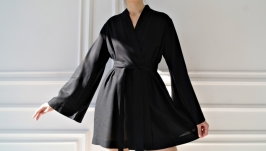 Black Women Linen Robe