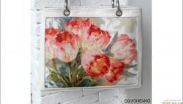 Сумочка ′Тюльпани′, натуральна шкіра, ручна вишивка.
