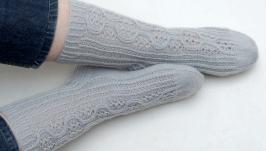 Теплые носки спицами из шерстяной пряжи, ажурные, мягкие