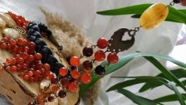 Браслет из натурального сердолика ′Грозди рябины′