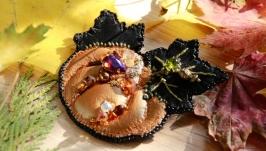Кожанная брошка тыква ′Hello Halloween′