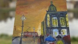 Картина акрилом «Дом Зингера»
