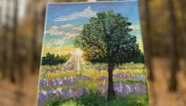 Картина акрилом «Летний пейзаж»