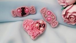 Розовые броши набор