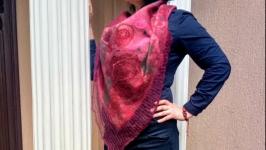 Шарф косинка з натуральної вовни ′ Троянди′